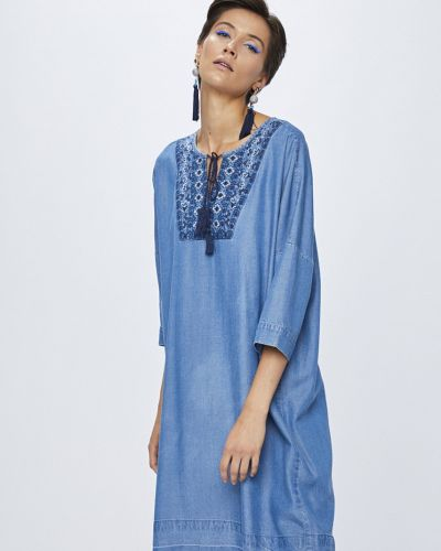 Платье мини с вышивкой однотонное Medicine