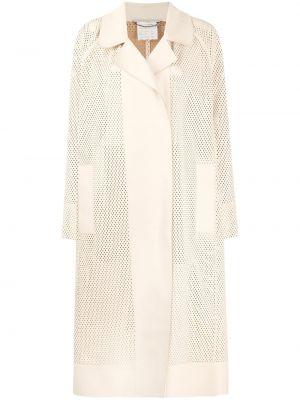 Beżowy długi płaszcz skórzany z długimi rękawami Stella Mccartney