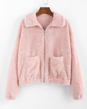 Куртка плюшевая с карманами Zaful