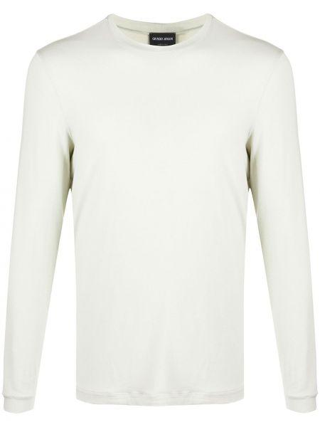 Beżowy t-shirt z długimi rękawami z wiskozy Giorgio Armani