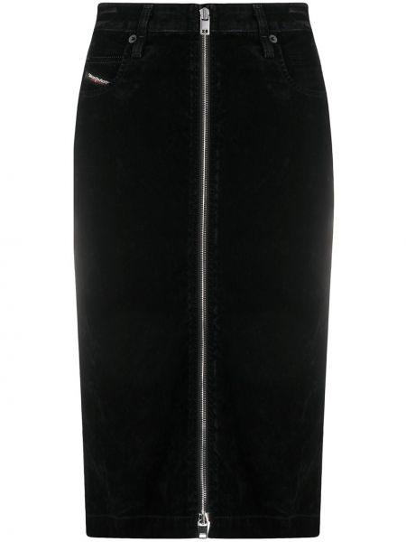 Klasyczna czarna spódnica ołówkowa z paskiem Diesel