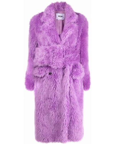 Фиолетовая шуба длинная Msgm