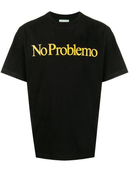 Koszula krótkie z krótkim rękawem prosto czarna Aries