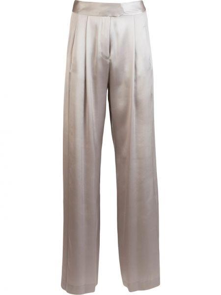 Шелковые свободные брюки с карманами свободного кроя с высокой посадкой Michelle Mason