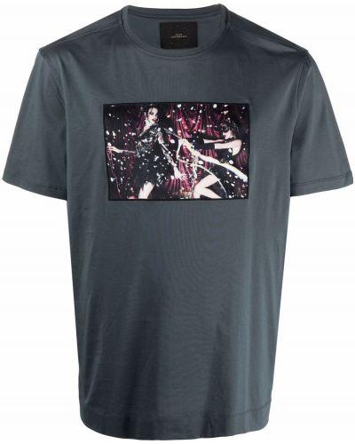 Niebieska T-shirt z nadrukiem bawełniana Limitato