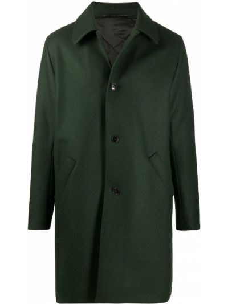 Зеленое однобортное шерстяное длинное пальто на пуговицах A Kind Of Guise