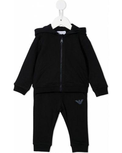 Czarny dres bawełniany prążkowany Emporio Armani Kids