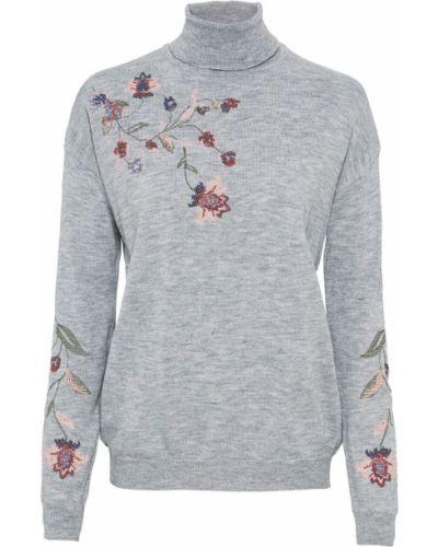 С рукавами серый свитер с воротником с вышивкой Bonprix