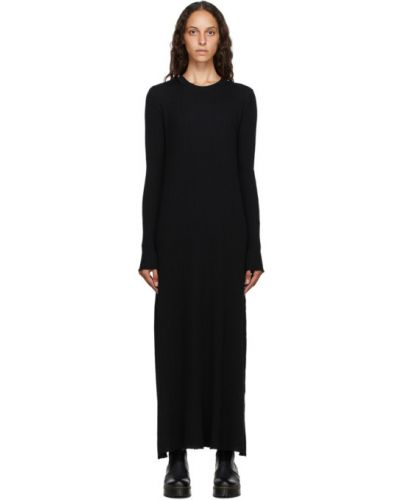 Черное платье макси с воротником с длинными рукавами с манжетами Marques Almeida
