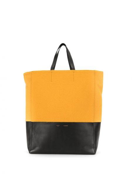 Кожаная желтая сумка шоппер на молнии с декоративной отделкой Céline Pre-owned
