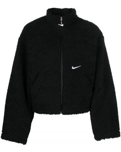 Черная длинная куртка с вышивкой с карманами Nike