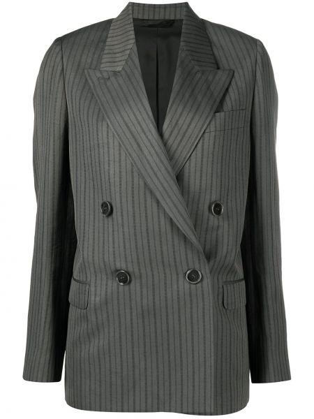 Серый удлиненный пиджак двубортный с карманами Acne Studios