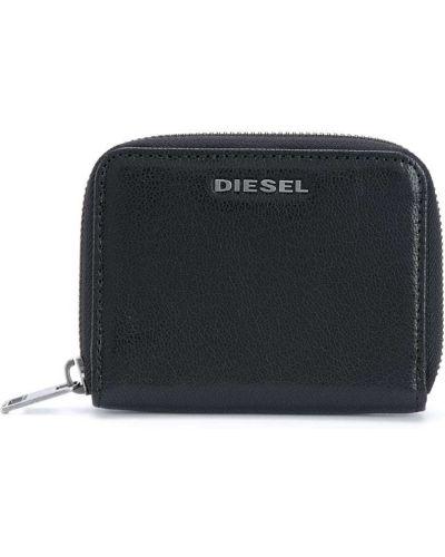 Кожаный серебряный кошелек на молнии Diesel