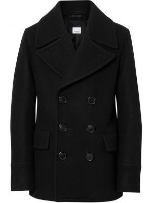 Черное шерстяное длинное пальто с воротником на молнии Burberry