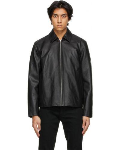Czarna długa kurtka skórzana z długimi rękawami Rag & Bone