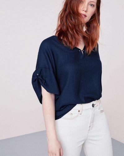 Синяя блузка с коротким рукавом Violeta By Mango