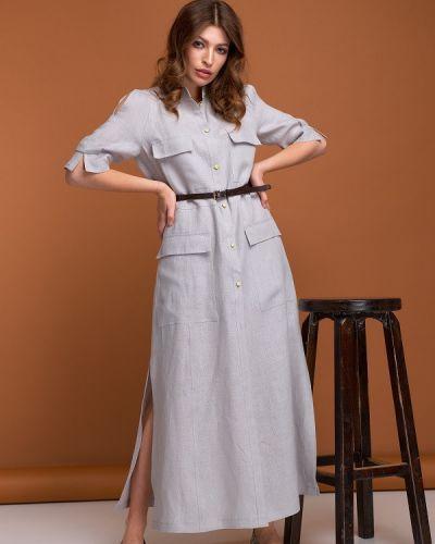 Серое платье с накладными карманами Origa