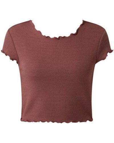 Różowa koszulka prążkowana Only