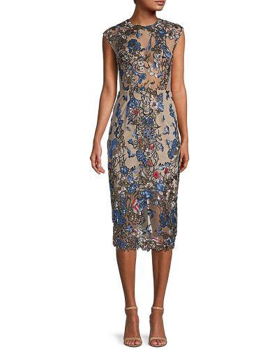 Бежевое приталенное платье миди с вышивкой Bronx And Banco