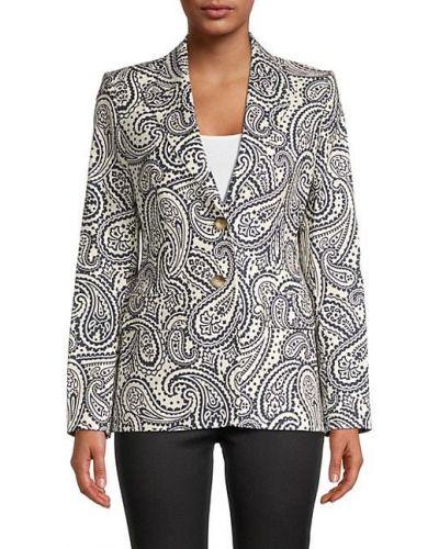 Хлопковый удлиненный пиджак с карманами с длинными рукавами Escada