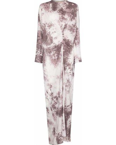 Biała sukienka długa z długimi rękawami z printem Sandra Mansour