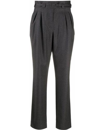 Шерстяные серые плиссированные брюки с поясом A.p.c.