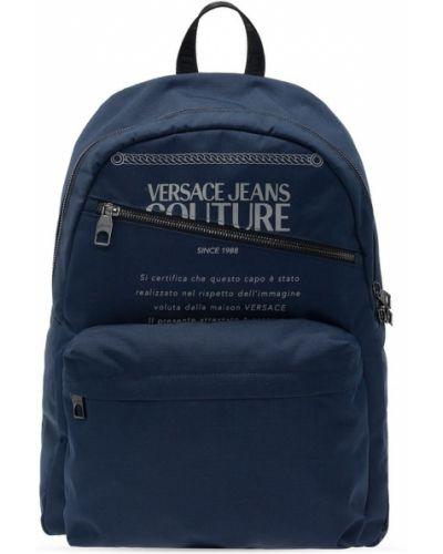 Niebieski plecak sportowy na co dzień z printem Versace Jeans Couture