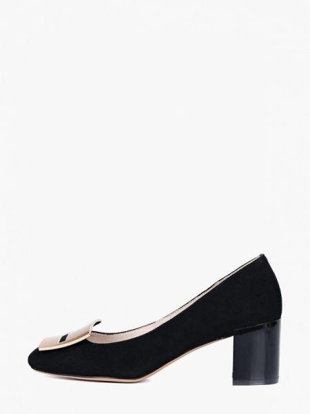 Велюровые черные туфли закрытые Respect