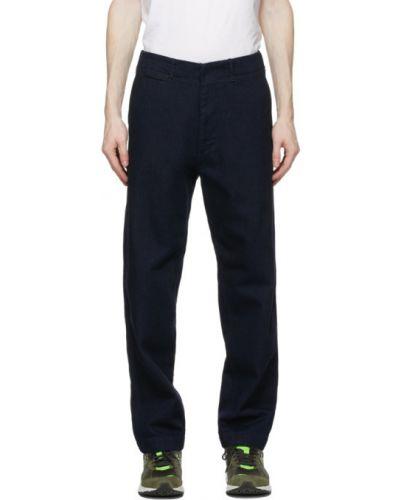 Niebieskie jeansy bawełniane z paskiem Nanamica