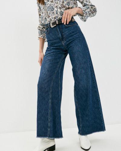 Расклешенные синие широкие джинсы Sisley