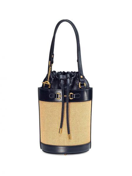 Niebieski skórzany torebka na łańcuszku z łatami na paskach Gucci