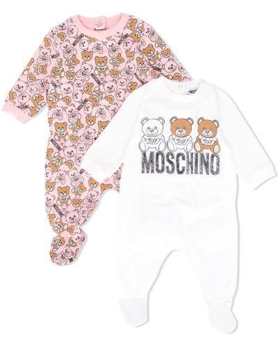 Хлопковое белое с рукавами боди с воротником Moschino Kids