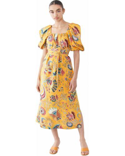 Желтое платье с декольте квадратное Rachel Comey