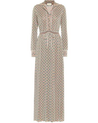 Платье макси винтажное квадратное из вискозы Gucci