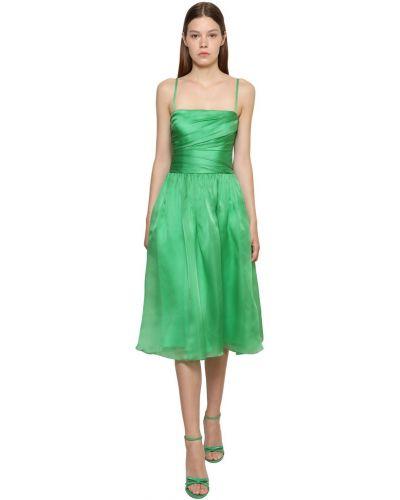 Шелковое платье миди - зеленое Ralph Lauren Collection