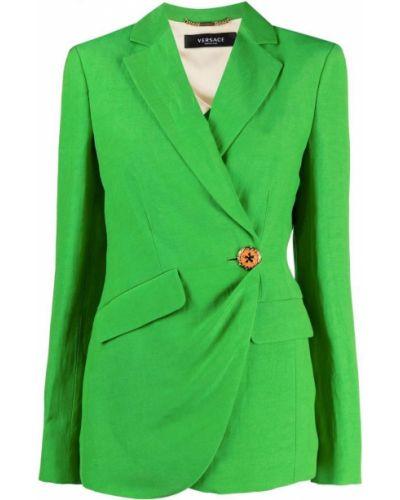Зеленый удлиненный пиджак на пуговицах с лацканами Versace