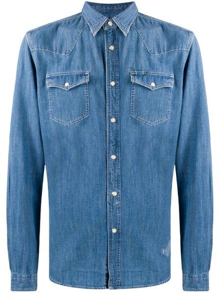 Niebieska koszula jeansowa bawełniana z długimi rękawami Hydrogen