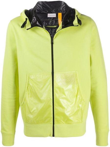Klasyczny puchaty żółty pikowana kurtka z mankietami Moncler