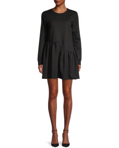 Хлопковое черное вечернее платье с длинными рукавами English Factory