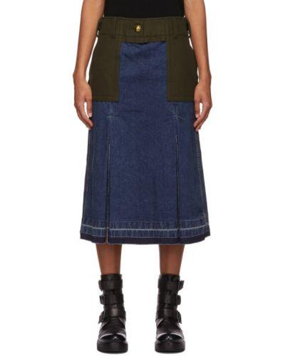 Шерстяная синяя джинсовая юбка с карманами Sacai