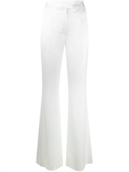 Białe spodnie z wysokim stanem rozkloszowane Galvan
