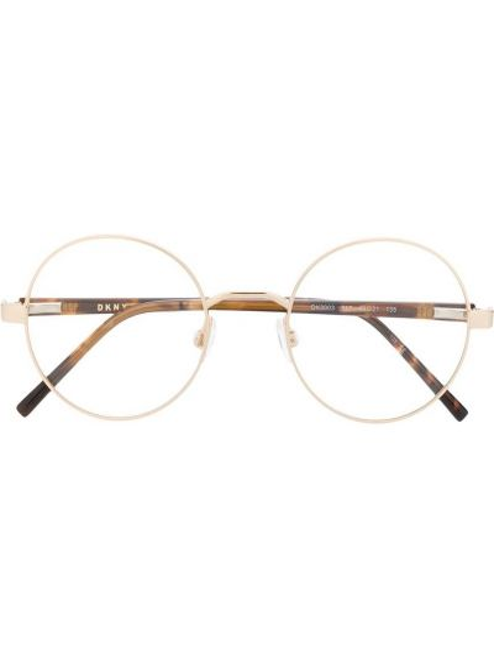 Brązowy oprawka do okularów metal okrągły za pełne Dkny