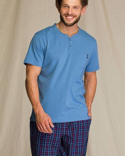 Хлопковая пижама с шортами с карманами в клетку Key