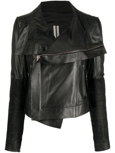 Skórzany czarny długa kurtka z kieszeniami z długimi rękawami Rick Owens