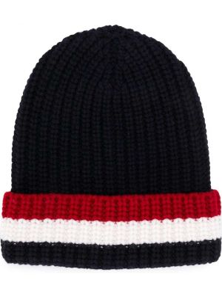 Trykotowy kapelusz zimowy z paskami Thom Browne