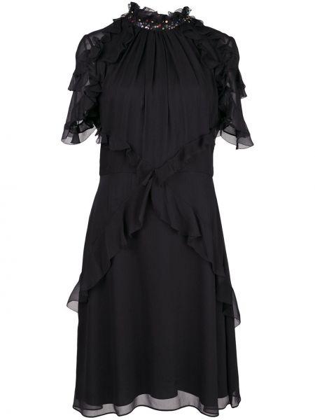 Приталенное платье мини прозрачное с оборками с вырезом Jason Wu Collection