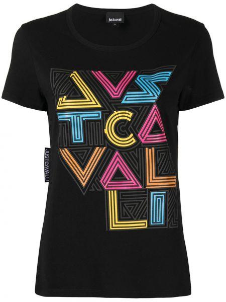 С рукавами черная футболка с вырезом Just Cavalli