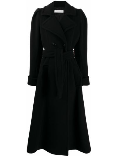 Шерстяное черное длинное пальто двубортное Philosophy Di Lorenzo Serafini