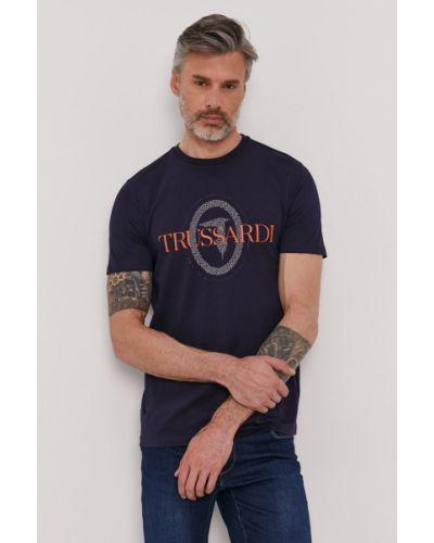T-shirt bawełniany z printem granatowy Trussardi Jeans