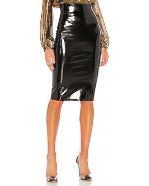 Черная юбка миди с разрезом в рубчик с поясом Commando